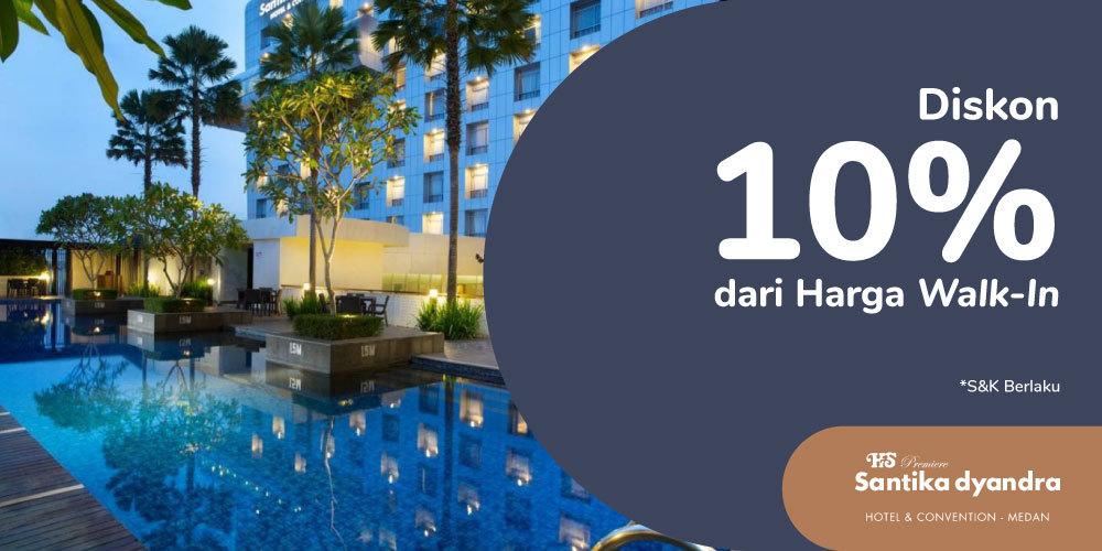 Gambar promo Diskon 10% dari Harga Walk-In - Hotel Santika Premiere Dyandra Medan dari Santika