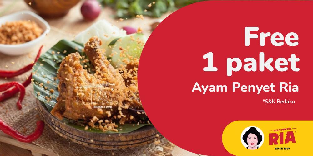 Gambar promo Gratis 1 Porsi Menu Ayam Penyet Ria dari Ayam Penyet Ria Cibinong.