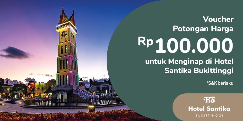 Gambar promo Voucher Potongan Harga Rp100.000 untuk Menginap di Hotel Santika Bukittinggi dari Santika