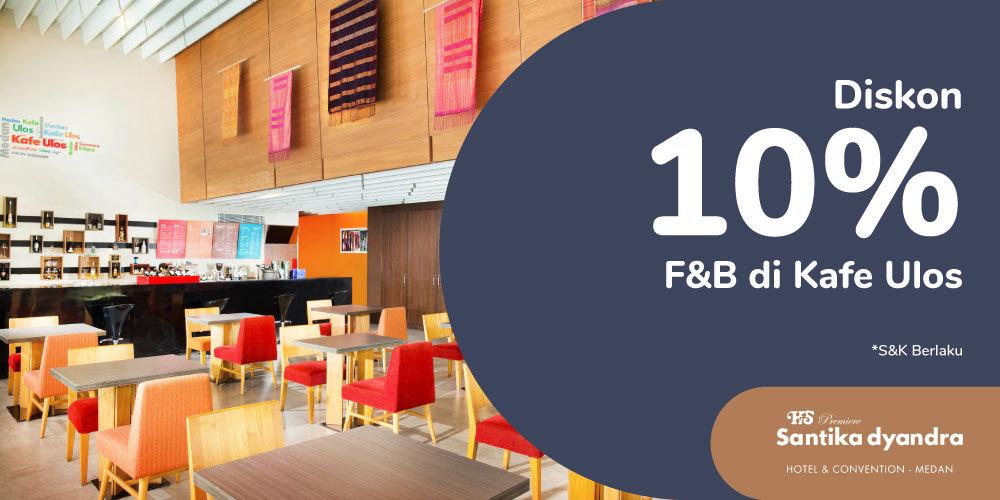 Gambar promo Diskon 10% Food & Beverages di Kafe Ulos dari Santika