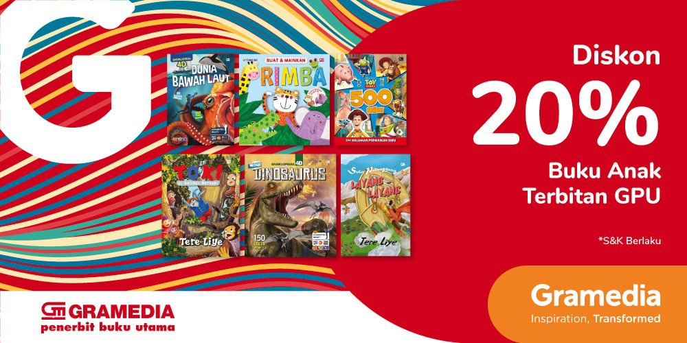 Gambar promo Diskon 20% Buku Anak Terbitan GPU dari Gramedia