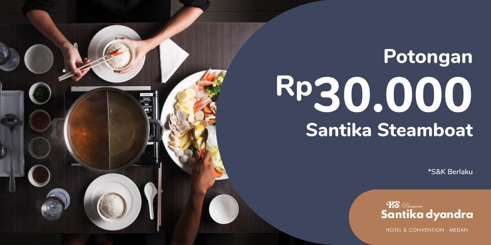 Gambar promo Potongan Rp30.000 untuk Santika Steamboat - Hotel Santika Premiere Dyandra Medan dari Santika