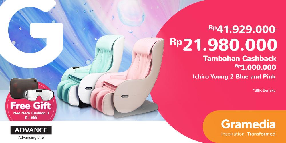 Gambar promo Cashback Rp1.000.000 I-Chiro Young 2 Brown, Blue, & Pink + Free gift Neo Neck Cushion 3 + I SEE dari Gramedia